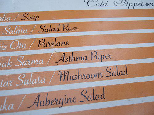 mistranslation of restaurant menu